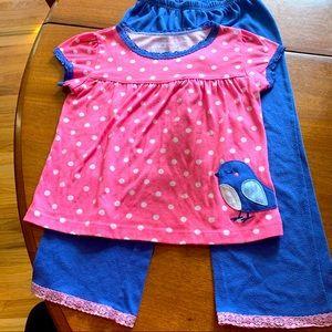 Carter's pink polka dot pajama 3 piece set 5T